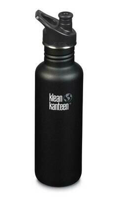 Klean Kanteen Classic drinkfles, sport cap,  27oz/800ml, zwart
