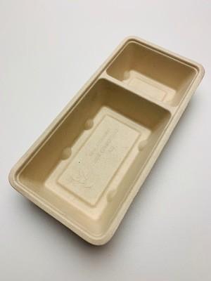 Bagasse snackbakje A22 bruin (A9+1), verpakt per 50 stuks