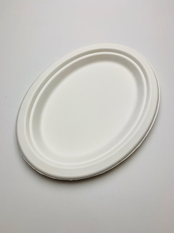 Bagasse bord ovaal wit, verpakt per 50 stuks