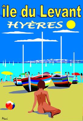 Détente sur la plage au Levant..Hyères...   50X70 cm ou 42X60cm