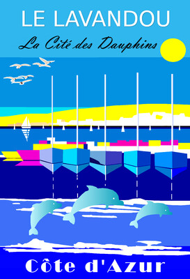 LE LAVANDOU -Cité des dauphins -  50X70 cm ou 42X60cm