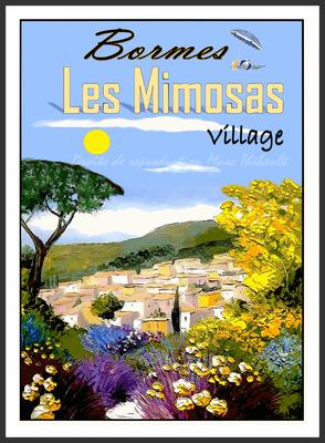 BORMES LES MIMOSAS . Floraison vers le Village.