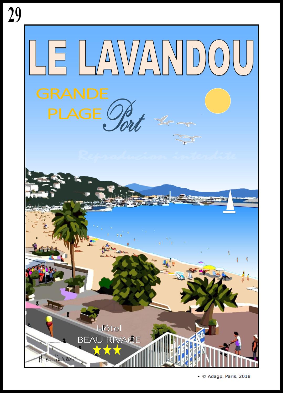 LA PLAGE DU CENTRE- Le Lavandou..Vue de l'hôtel Beau Rivage