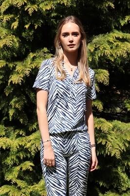 Marina broek, zebra blauw
