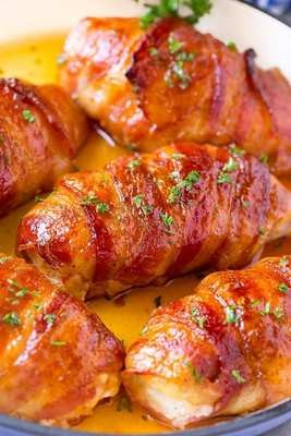 Bacon-Wrapped Stuffed Chicken - GF