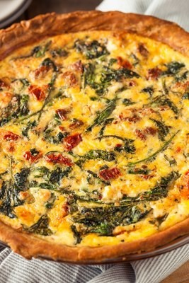 Quiche w/Red Pepper, Feta & Spinach