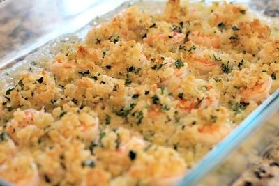 Crispy Baked Shrimp Scampi with Linguine
