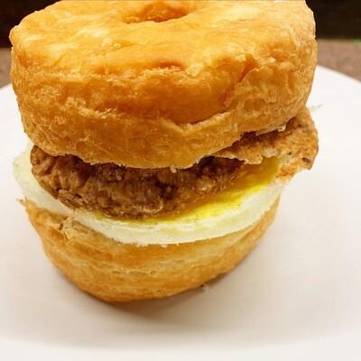 Cronut Egg Sandwich w/ Maple Glazed Sausage