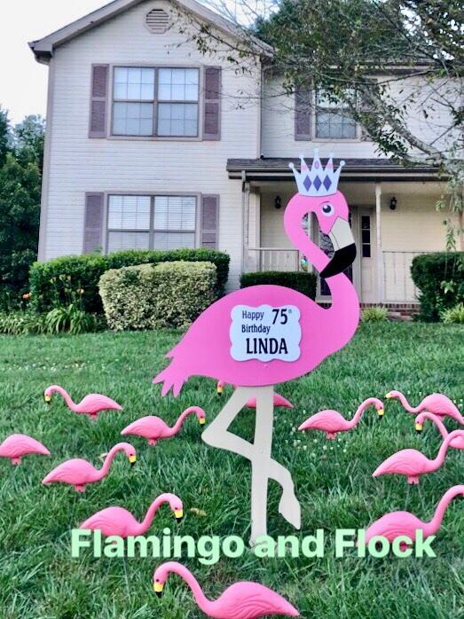 Flamingo/Flocking Lawn Sign Rental 00006