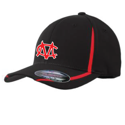 Embroidered CM Logo Sport-Tek Flexfit Performance Colorblock Cap- Black