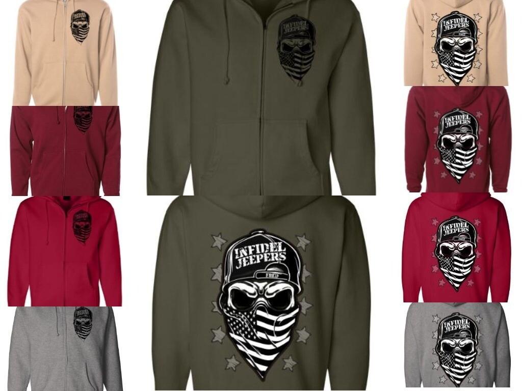 Premium Zippered Hoodie: Skull & Stars