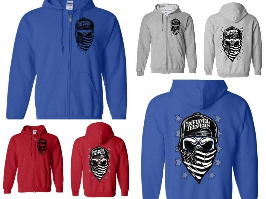 Standard Zippered Hoodie: Skull & Stars