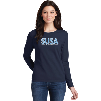 SUSA Heavy Cotton Long Sleeve Shirt - Navy - Woman's Style