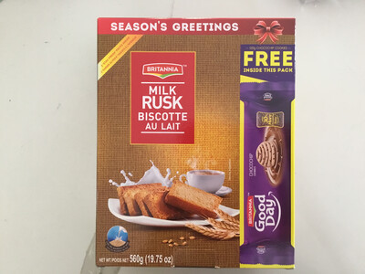 BRITANNIA MILK RUSK (with Free Good Day Biscuit Pack)  560G