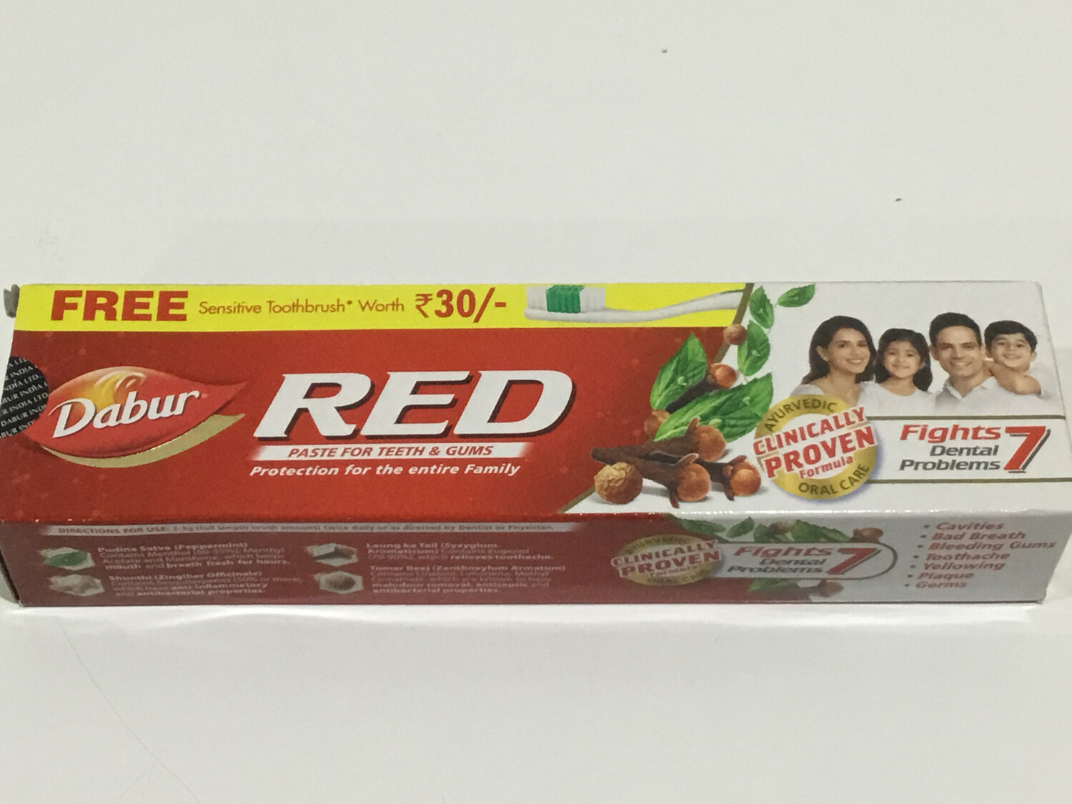 DABUR RED TOOTH PASTE 200G(WITH  FREE SENSITIVE TOOTHBRUSH)