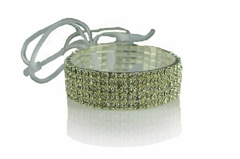 300CLR - 5 Row Crystal Wristlet With Plastic Pad