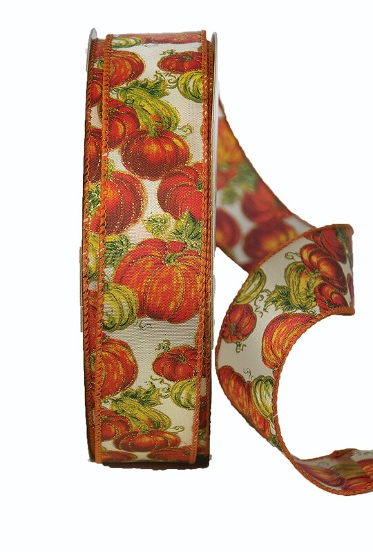 PATCH09 - #9 Wired glitter pumpkin patch ribbon