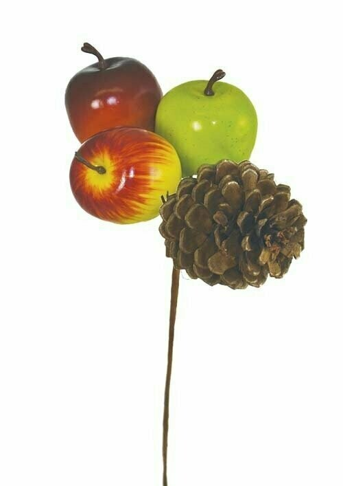 PPX2005 - Assorted colored apples and pine cone pick (boxed 1 dozen)