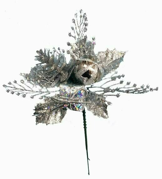 XP1003SILVER - Silver Ball Cone Package Holly Glitter Pick