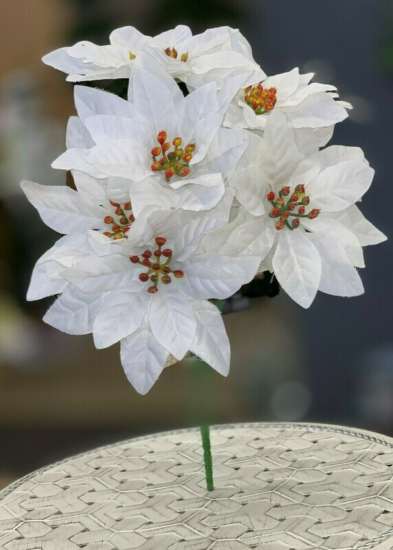 ​SBX04100WHT - Poinsettia bush x7