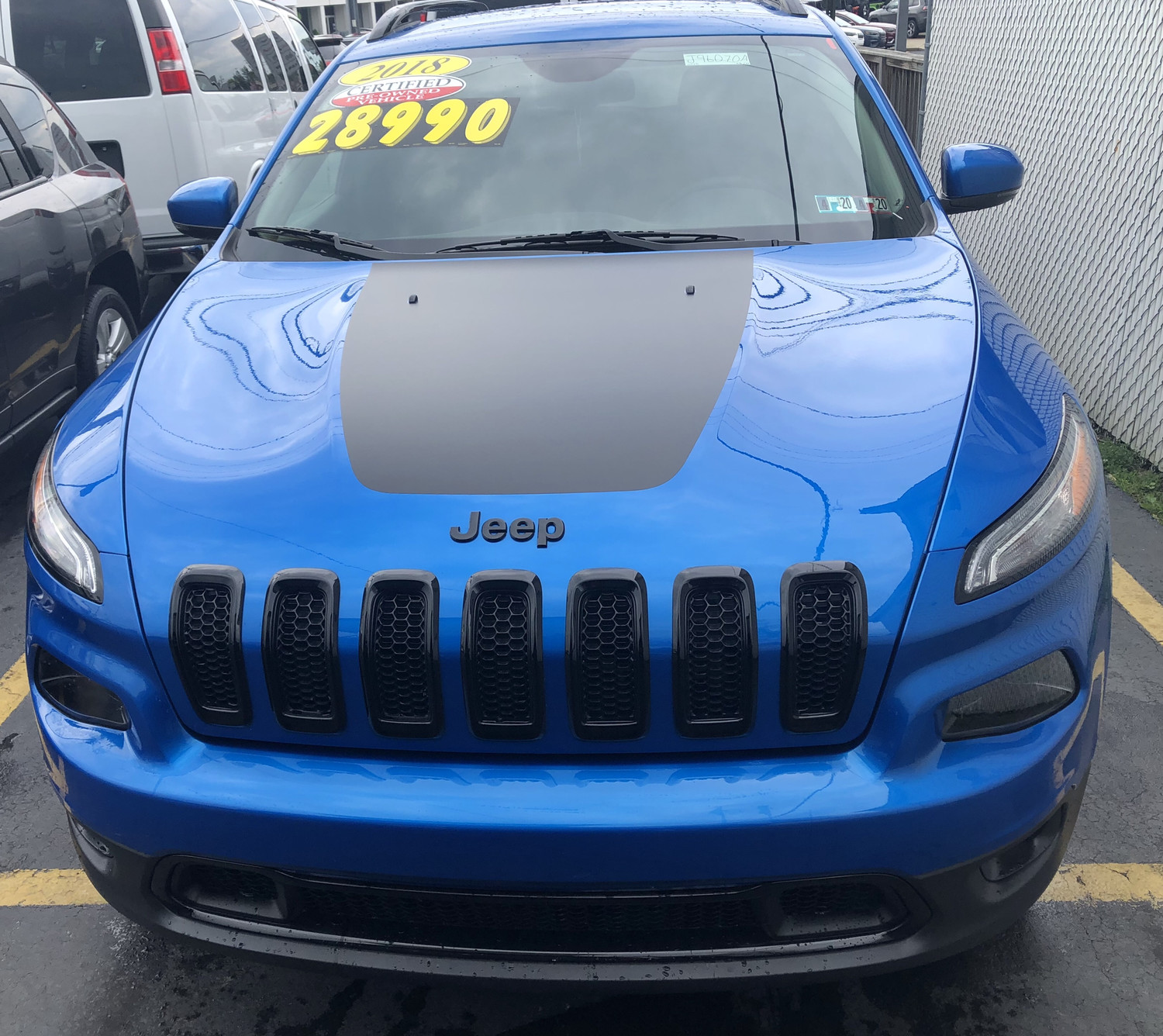 2014 - 2019 Jeep Cherokee Trailhawk Style Hood Blackout Decal