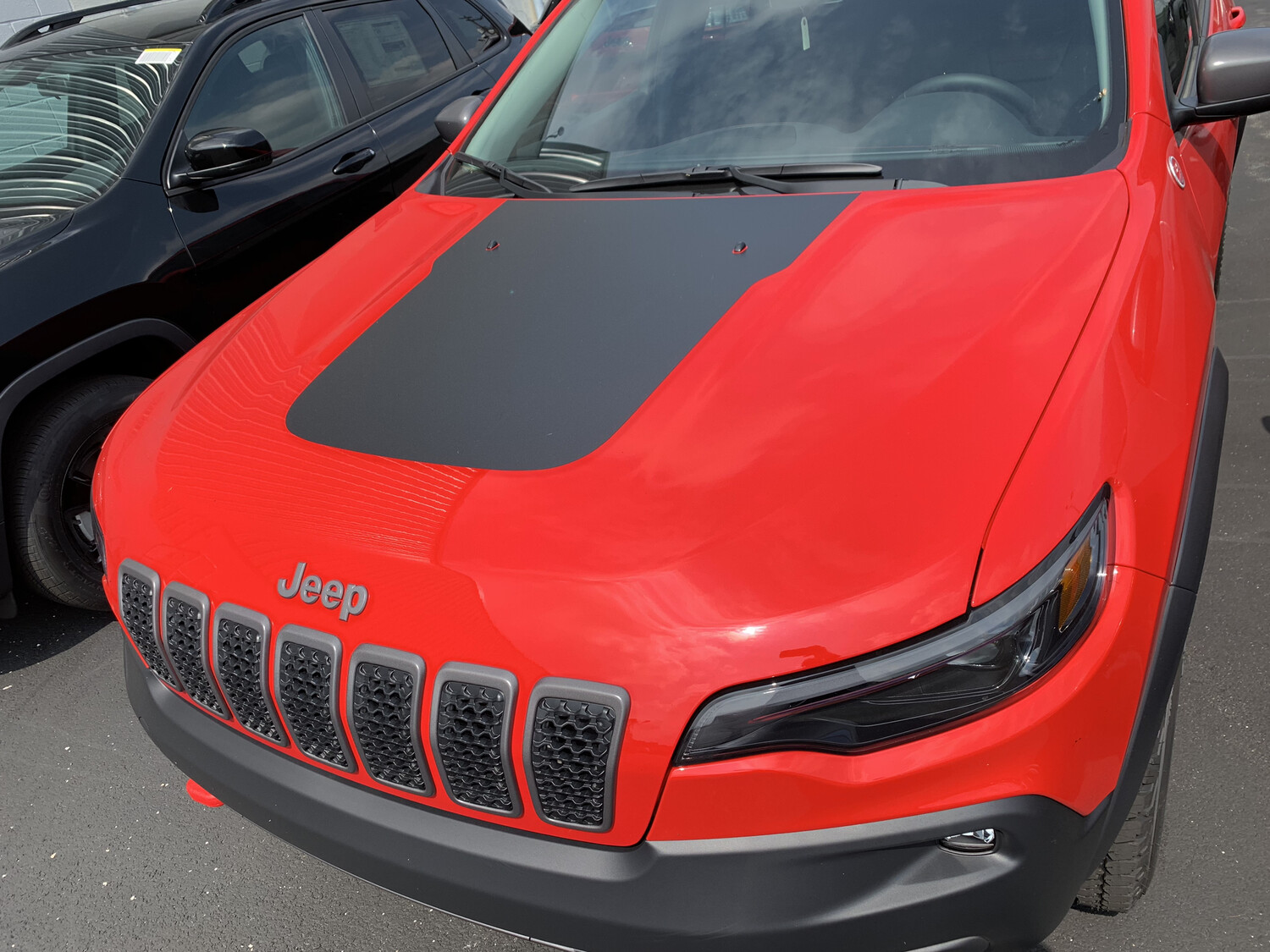 2019 - Up Jeep Cherokee Trailhawk Style Hood Blackout Vinyl Graphic Decals (2019 Factory Style)