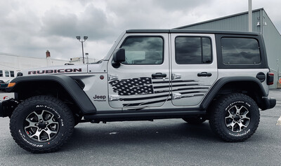 Jeep Gladiator JT Wrangler JK JKU JL JLU Large Tattered Flag Graphics
