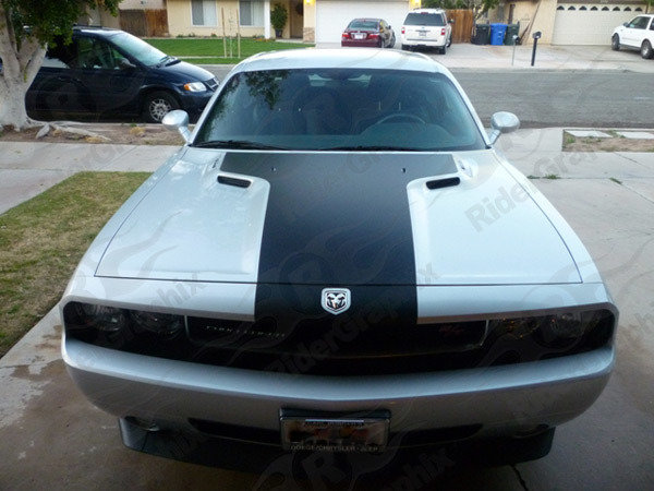 2008 - 2014 Challenger One Piece Retro Style Hood Decal
