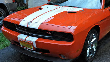 2008 - 2014 Challenger SRT Factory Style Hood Stripes with Extensions