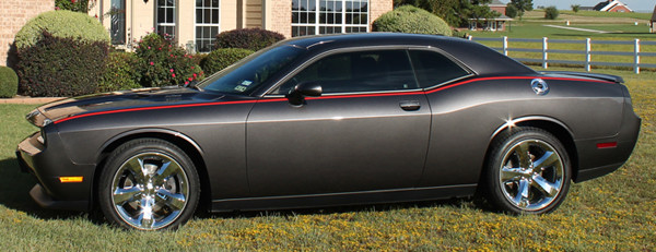 "2008 - Up Dodge Challenger ""Mopar Underground Blacktop"" Style Side Stripe Kit"
