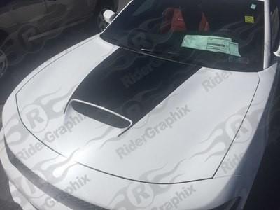 2015 - 2019 Dodge Charger SRT Hellcat RT Scat Pack Daytona Style Hood Blackout Graphics