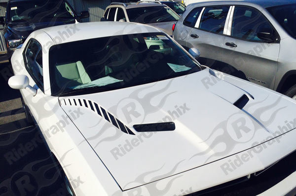 2015 - 2019 Dodge Challenger Hood Spear Accent Stripe Vinyl Graphics