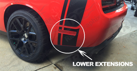 2015 - Up Dodge Challenger Scat Pack Factory Style Tail Stripe Lower Extensions Only