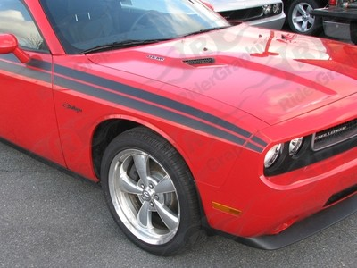 2009-2014 Dodge Challenger RT Classic Factory Front Nose Stripe Extensions Only