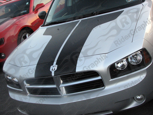 """2006 - 2010 Dodge Charger Two-Piece Vintage """"T"""" Shaped Hood Decal Kit"""