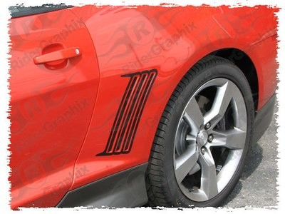 2010 - 2015 Chevrolet Camaro Rear Q.P. Side Vent Accent Blackout Decals Inside & Outside Combo