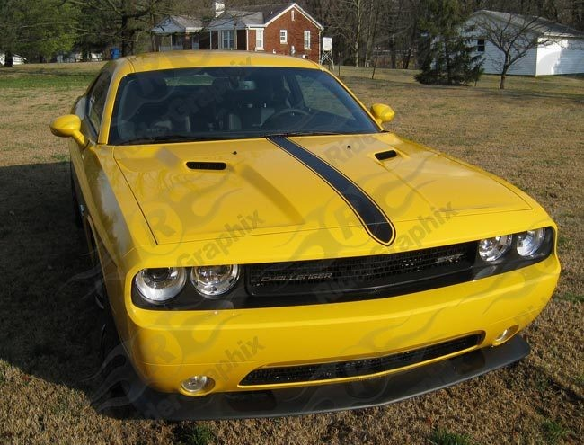 """2008 - Up Dodge Challenger """"Yellow Jacket Concept"""" Hood Decal Kit"""