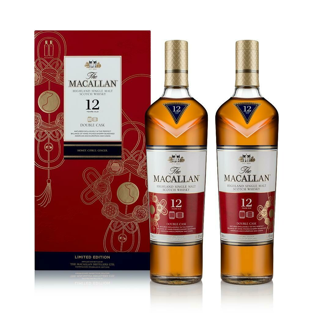 Macallan '12 Years Old Double Cask' Single Malt Whisky (2 btls Limited Edition Pack - Year of the Rat)
