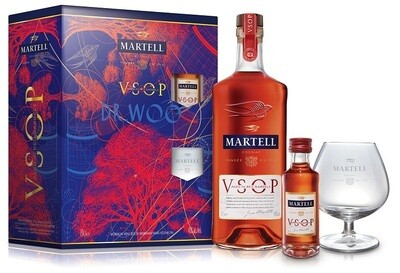 Martell 'VSOP - Aged in Red Barrels' Cognac (Limited Edition Gift Pack with 1 Ballon Glass & 1 Miniature)