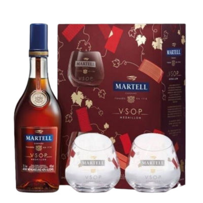 Martell 'VSOP Medaillon' Cognac (2018 Limited Edition Gift Pack with 2 Glasses)