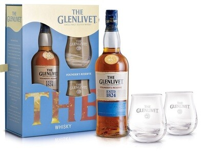 The Glenlivet 'Founder's Reserve' Single Malt Scotch Whisky (Gift Box with 2 Rock Glasses)