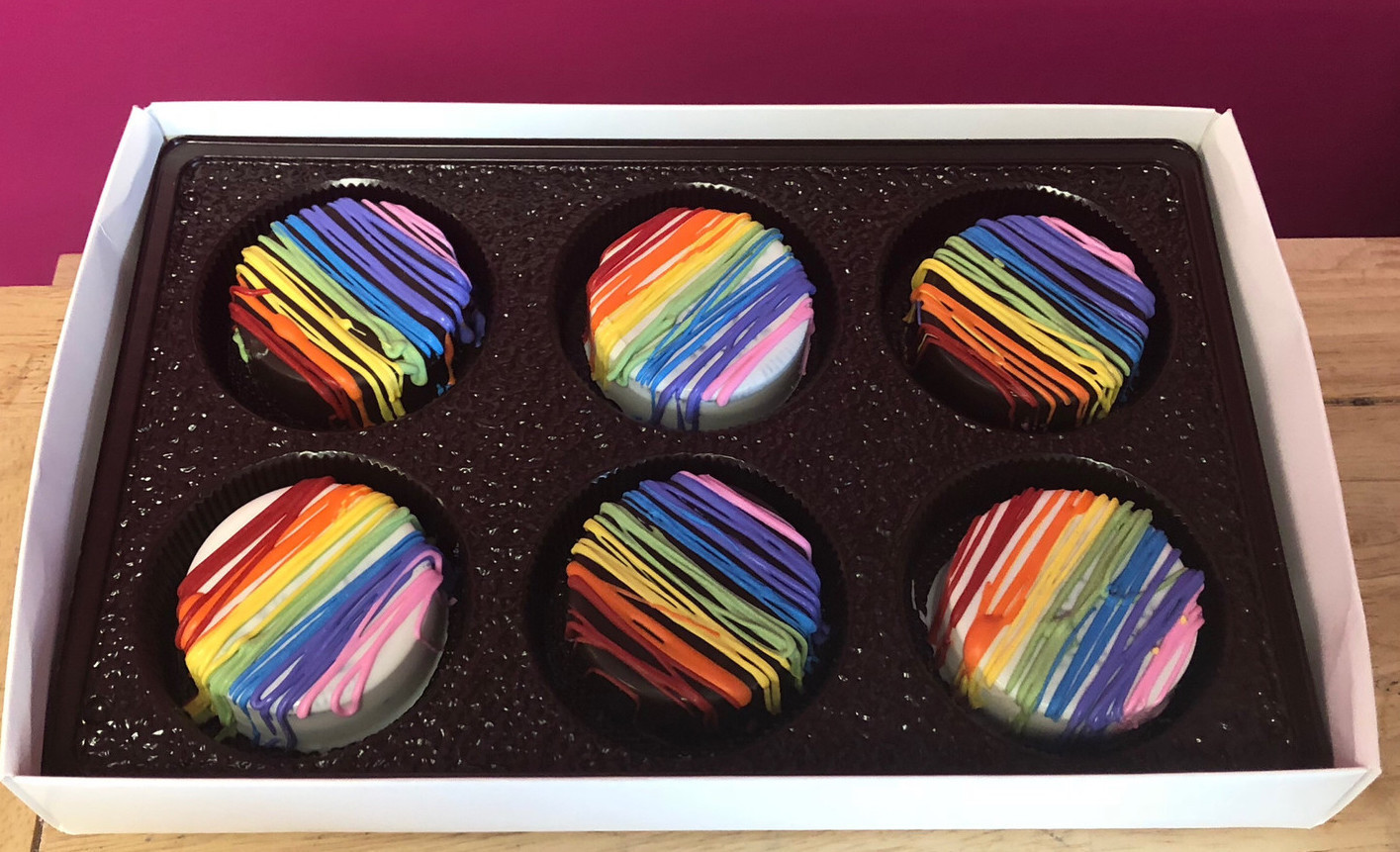 Rainbow Drizzled Chocolate Covered Oreos 6 Pack