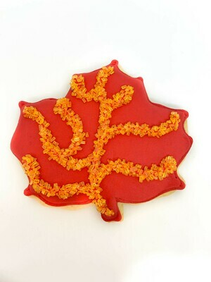 Red Fall Leaf Royal Iced Sugar Cookie
