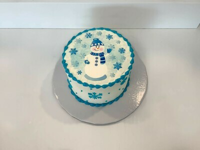 Friendly Snowman Cake