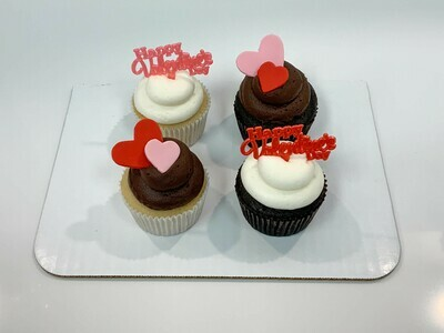Valentine's Day Assorted 4 Pack Cupcakes