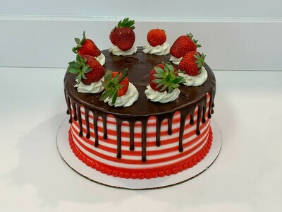 Strawberry Topped Stripe Drip Cake