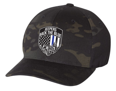 Jeepers Back the Blue Flexfit Hat | Multicam Black