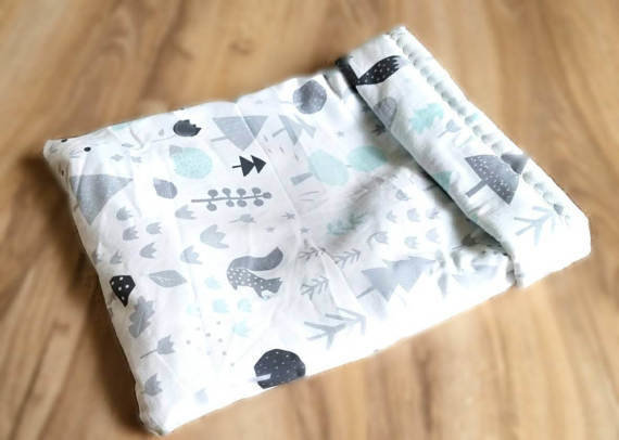 Up North Rustics & Co.™ Small Animal Sleep Sack | Silver & Mint Woodland
