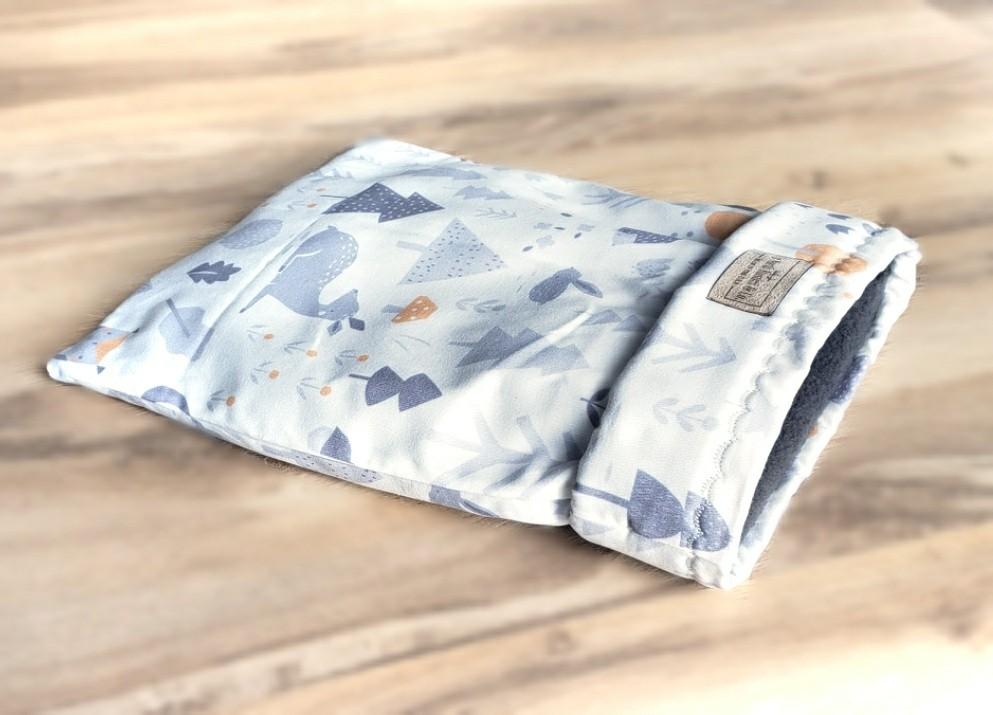 Up North Rustics & Co.™ Small Animal Sleep & Snuggle Sack | Silver & Orange Woodland