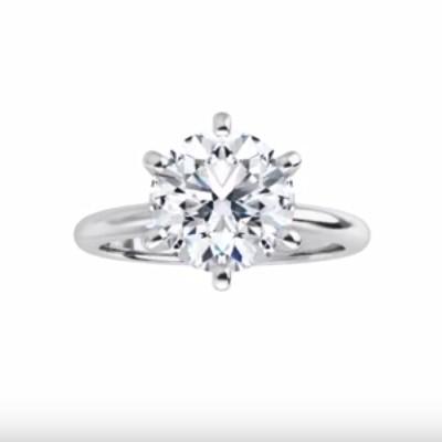 Platinum 6.5mm (1 carat round diamond) Solitaire Engagement Ring